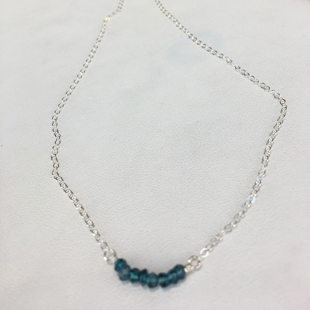 Ruby Lena Blue Quartz Bar Necklace