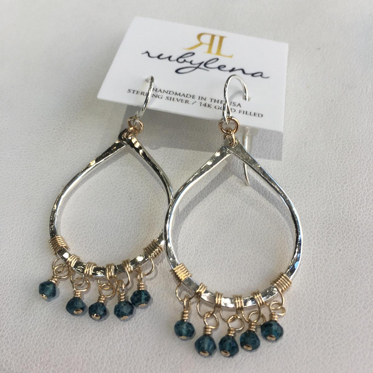 Ruby Lena Blue Quartz Fringe Teardrop Earrings
