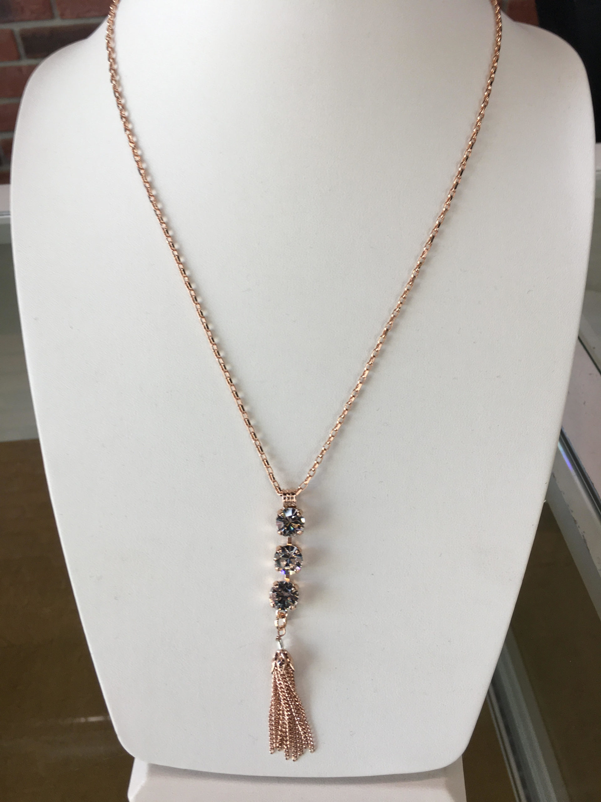 Mariana Swarovski crystal necklace in tose gold plate