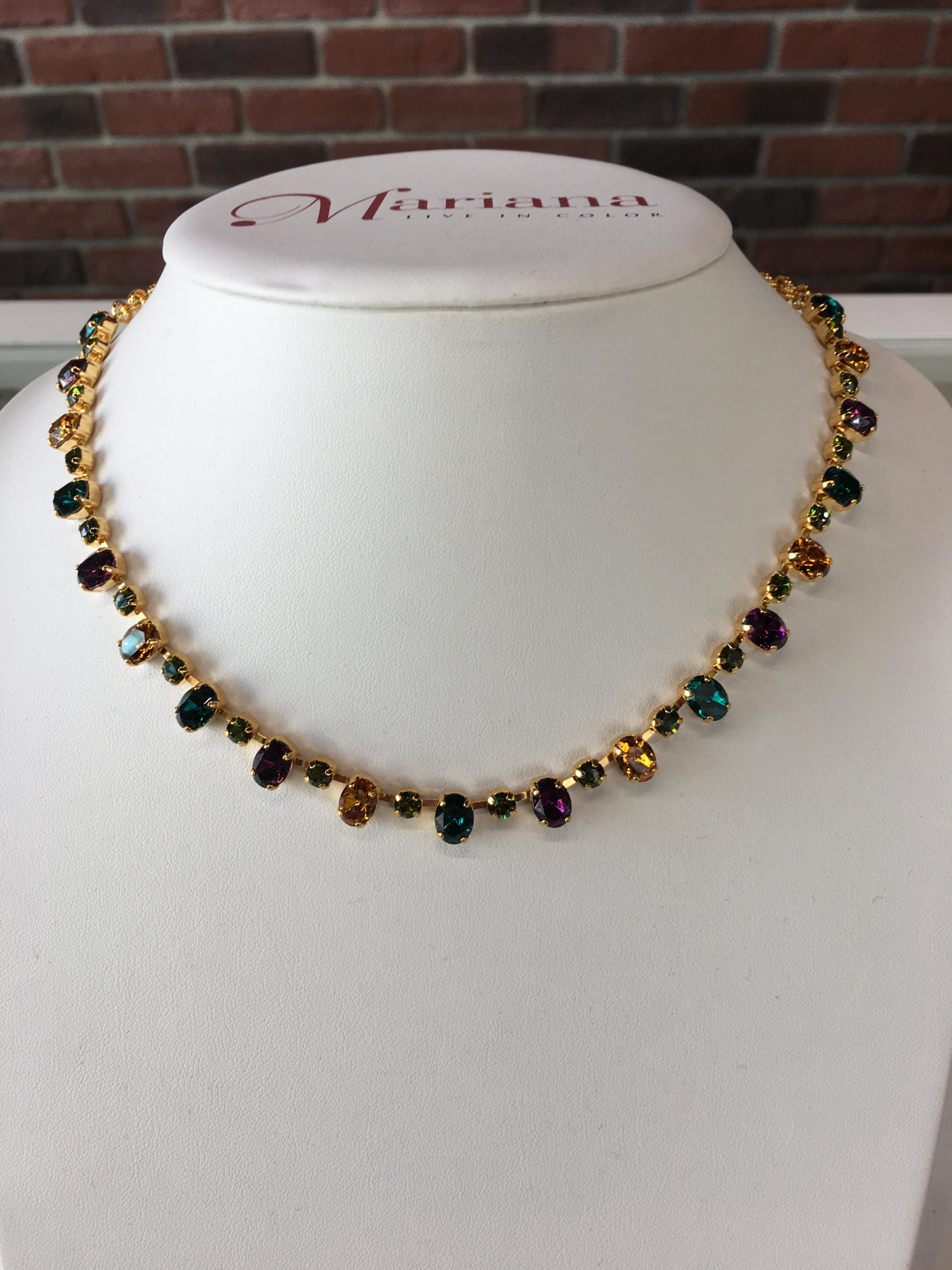 Mariana Swarovski crystal necklace in yellow gold plate