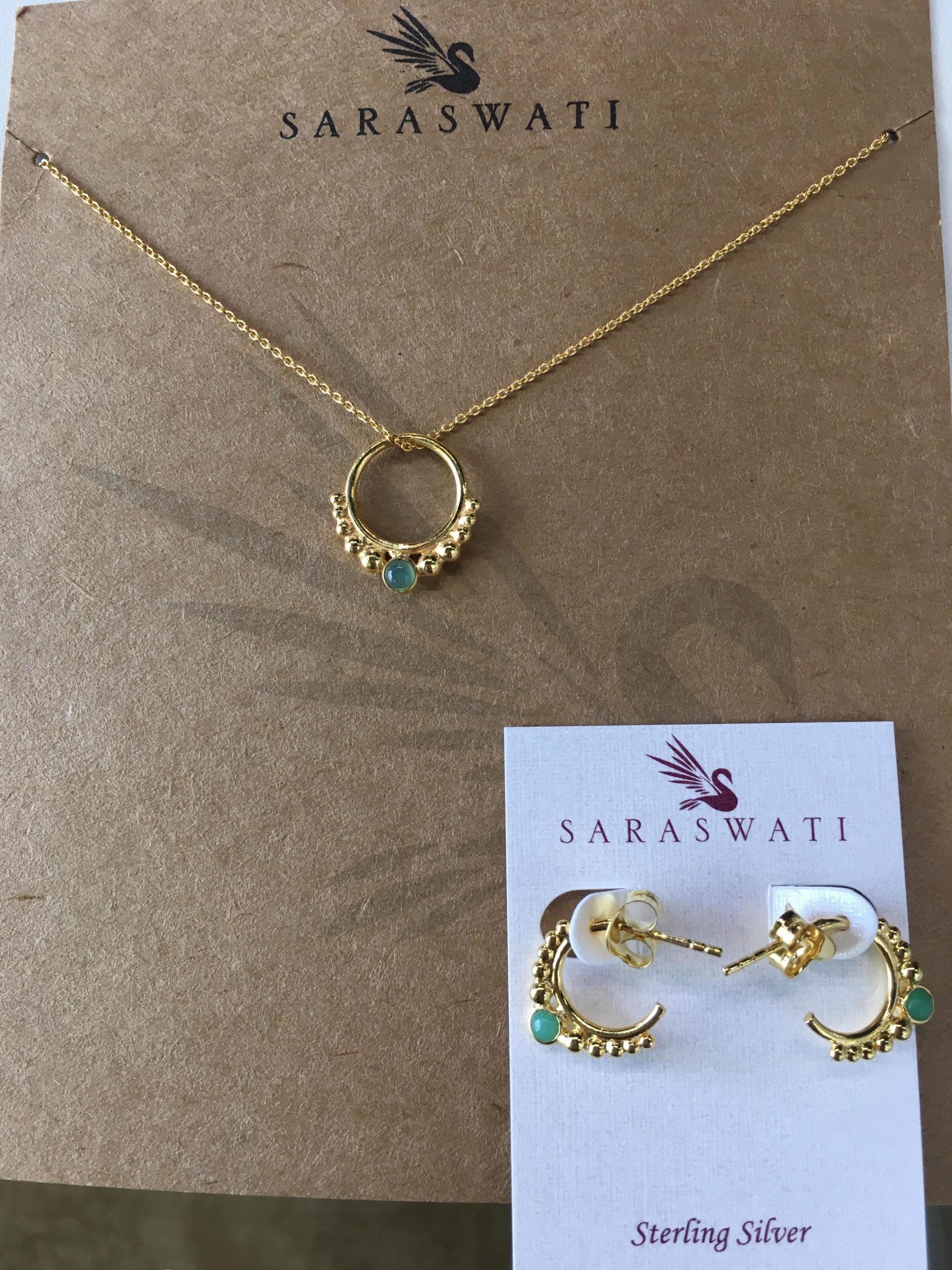Saraswati Vermeil Green Onyx Hoop Pendant and Matching Earrings